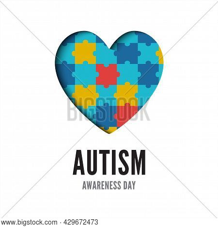 Autism Awareness Day Banner Isolated On White Background