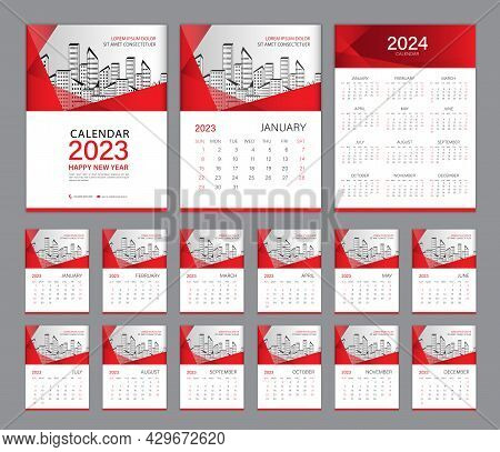 Wall Calendar 2023 Template Set And Calendar 2024 Design, Red Cover. Week Starts On Sunday, Set Of 1