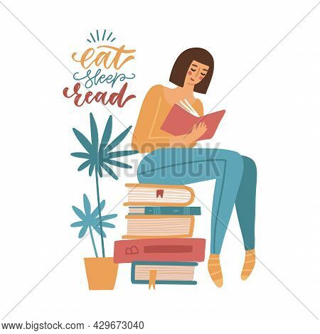 Young Woman Reading A Book While Sitting On Stack Of Giant Books. Student Studying. Girl Relaxing Wi
