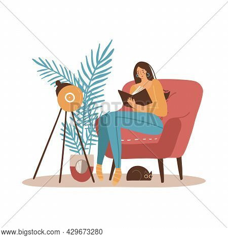 Girl With Cat Reading Book. Younf Woman Sitting In Big Armchair And Read. Cozy Home Interior Furnitu