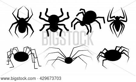 Set Of Black Simple Silhouettes Of Spiders. Vector Arachnid Icons.