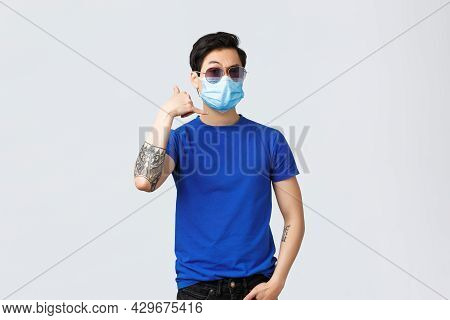 Covid019 Lifestyle, People Emotions And Leisure On Quarantine Concept. Handsome Self-assured Young A