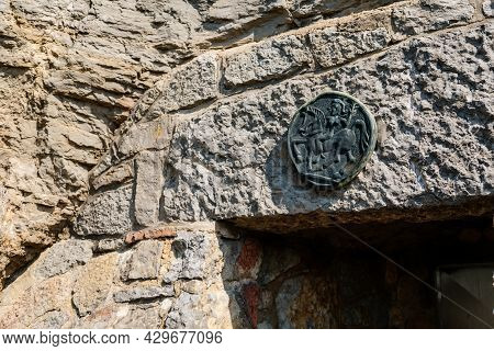 Koneprusy, Czech Republic, 24 July 2021: Natural Dripstone Rock Formations With Stone Decoration In