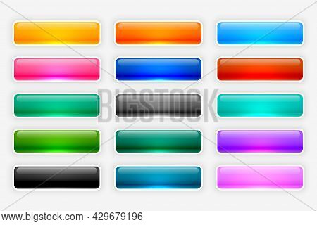 Shiny Glossy Web Buttons Collection Design Vector Illustration