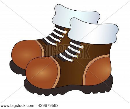 Pair Of Warm Winter Boots - Vector Full Color Picture For Logo Or Pictogram. Boots Are Brown With La