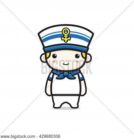 Cute Sailor Character Cartoon Icon Illustration. Design Isolated Flat Cartoon Style
