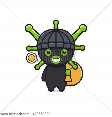 Cute Thief Virus Steal Money Cartoon Icon Illustration. Design Isolated Flat Cartoon Style