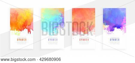 Colorful Abstract Watercolor Splatter Banners Set Design Vector Illustration