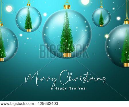 Christmas Crystal Balls Vector Design. Merry Christmas Text With Crystal Ball Hangging With Xmas Tre
