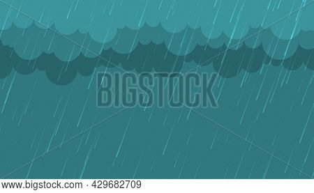 Monsoon Rainfall With Clouds Background Design Vector Illustration