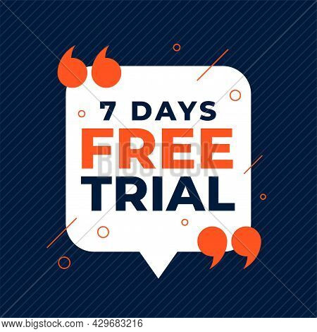 7 Days Free Trial Background With Quote Marks Design Vector Illustration