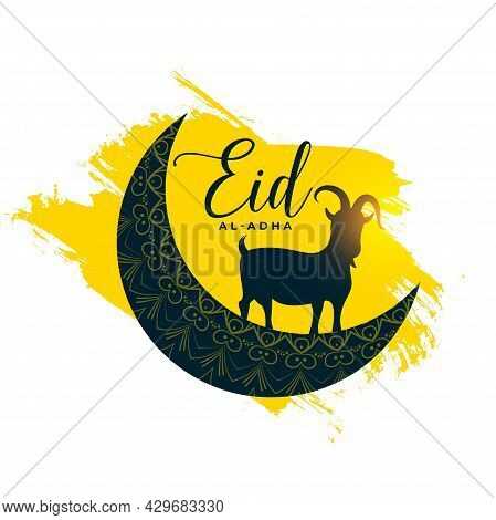 Eid Al Adha Card With Goat And Moon Design Vector Illustration