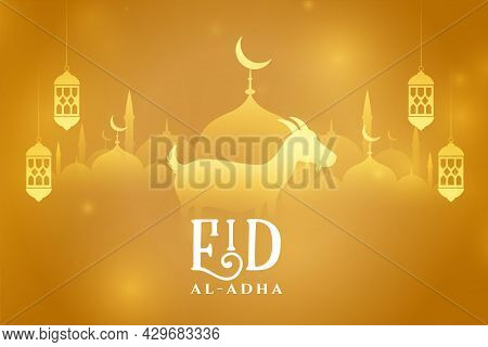 Eid Al Adha Mubarak Golden Greeting Design Vector Illustration