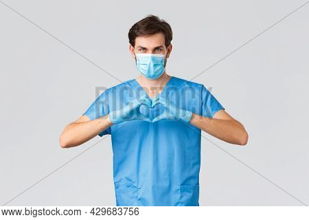 Covid-19, Quarantine, Hospitals And Healthcare Workers Concept. Serious Determined Doctor Or Nurse I