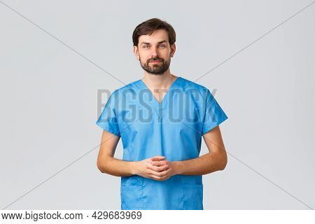 Healthcare Workers, Coronavirus Quarantine Campaign And Pandemic Concept. Prodessional Male Doctor,