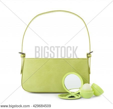 Stylish Baguette Bag With Pocket Mirror And Lip Balm Isolated On White