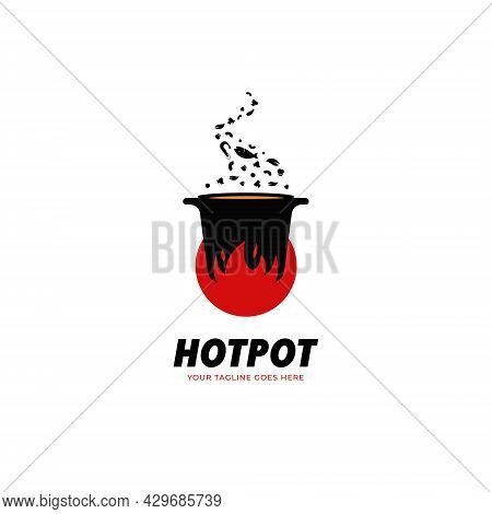 Hot Pot Kitchen And Catering Restaurant Soul Food Logo Icon Template With Big Fire Flame And Seafood