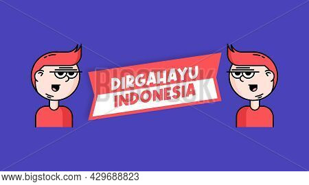 Independence Day Of Indonesia With Cute Cartoon Character