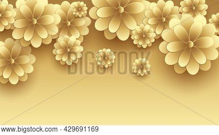 Golden 3d Flowers Decorative Premium Background Design Vector Illustration