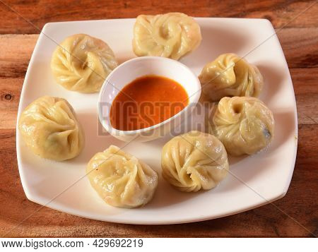 Veg Steam Momo. Nepalese Traditional Dish Momo Stuffed With Vegetables And Then Cooked And Served Wi