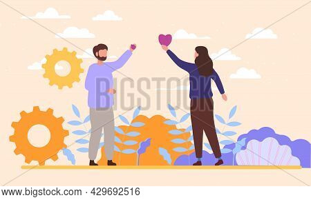 Male And Female Characters Standing Together With Hearts In Hands. Concept Of Empathy And Emotional