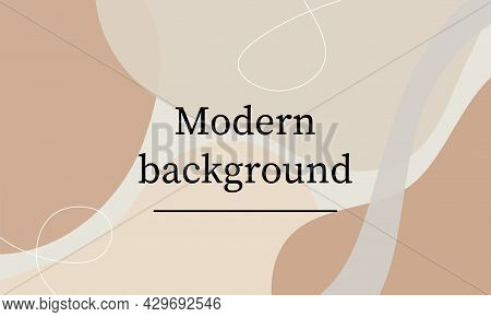 Pastel Fashion Stylish Templates With Abstract Shapes And Line In Nude Colors. Neutral Background In