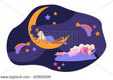Cute Female Character With Long Hair Is Sleeping On The Moon. Concept Of Romantic Dreams With Night