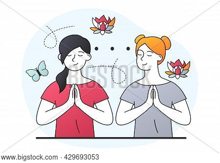 Two Female Characters On Spiritual Therapy For Body And Mind With Harmony Yoga Practice. Concept Of
