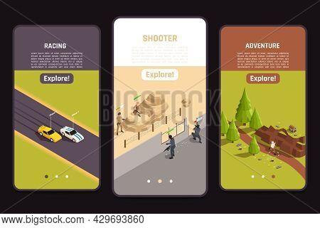 Mobile Gaming Fullscreen App 3 Isometric Smartphone Screens Set With Car Racing Outdoor Adventure Sh