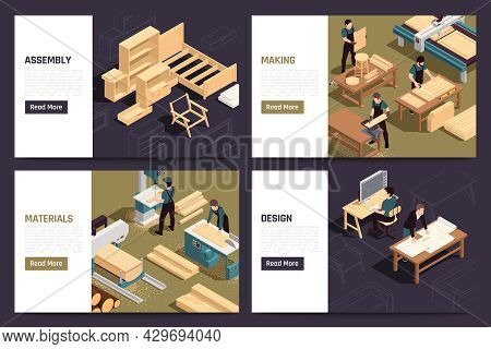 Modern Furniture Production Service Concept 4 Isometric Webpages Set With Custom Design Units Making