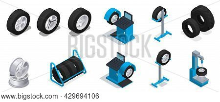 Tire Production Service Colored And Isometric Icon Set Different Types And Sizes Of Tires And Differ