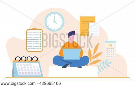 Young Male Character Is Planning His Day In Laptop Applications. Concept Of Scheduling Appointments