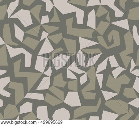 Brown Beige Geometric Camouflage Seamless Pattern. Modern Military Camo Texture. Desert Masking Colo