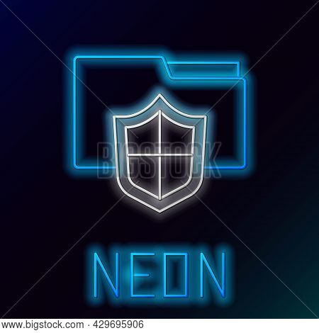 Glowing Neon Line Document Folder Protection Concept Icon Isolated On Black Background. Confidential