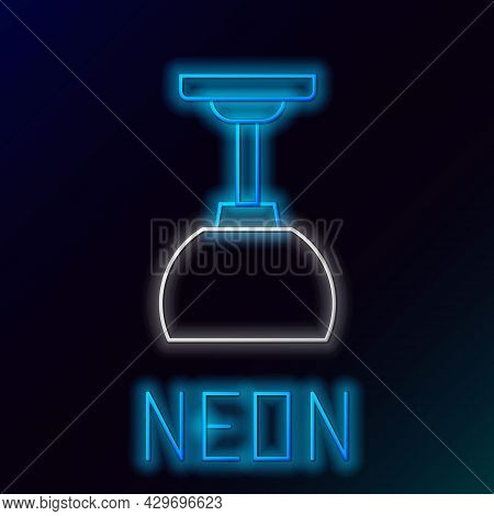 Glowing Neon Line Lamp Hanging Icon Isolated On Black Background. Ceiling Lamp Light Bulb. Colorful