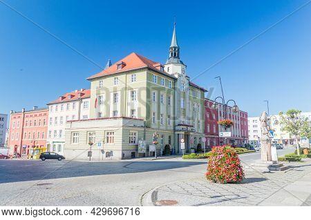 Strzegom, Poland - June 3, 2021: Town Hall On Market Square.