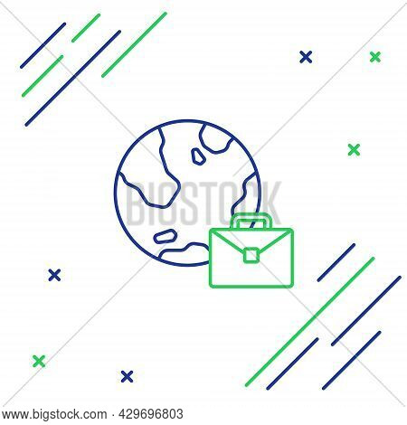 Line Online Working Icon Isolated On White Background. Freelancer Man Working On Laptop At His House