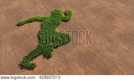 Concept conceptual green summer lawn grass symbol shape on brown soil or earth background, runner sign. A 3d illustration metaphor for athlete, sprinter, marathon, competition, exercise and  health