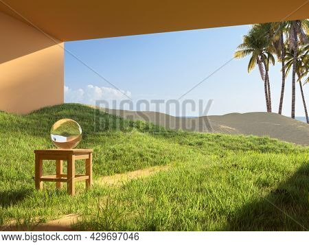 Surreal art concept of a house in the desert, grass and sand, palm trees and sea view. 3D illustration, rendering.