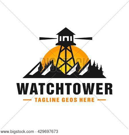 Watchtower Illustration Logo Design On The Mountain