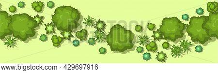 Jungle Forest Top View. Horizontal Seamless Composition. Overgrown Rainforest. Cartoon Style Flat De