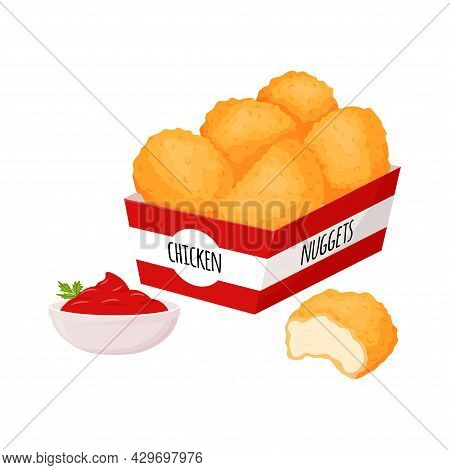 Chicken Nuggets In A Box And A Bowl With Ketchup Sauce And Herbs. Fast Food, Snacks, Meat Food. Fatt