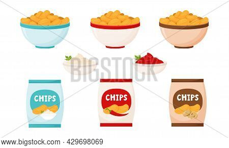 A Set With Chips In A Package And In A Bowl. Chips With Sour Cream, Mushrooms And Chili Pepper. Fast