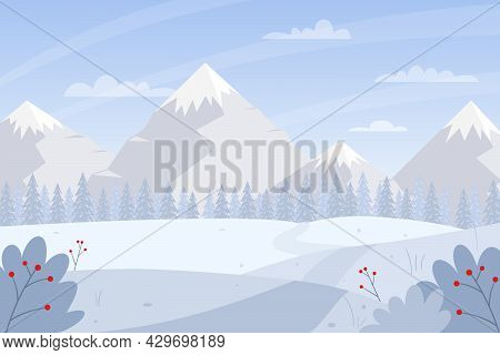 Horizontal Winter, Snowy Landscape. Mountains, Snow Path, Snowdrifts, Fir Trees, Snow-covered Bushes
