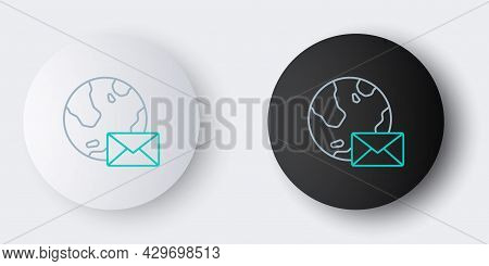 Line Earth Globe With Mail And E-mail Icon Isolated On Grey Background. Envelope Symbol E-mail. Emai
