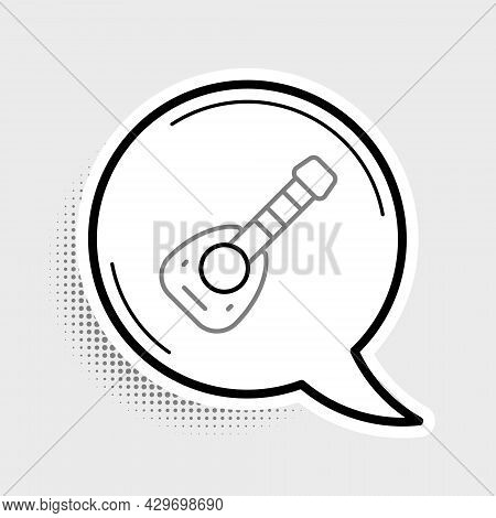 Line Musical Instrument Lute Icon Isolated On Grey Background. Arabic, Oriental, Greek Music Instrum