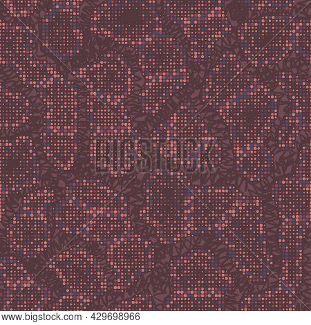 Abstract Halftone Camouflage. The Skin Of A Chameleon Or Snake. Dot Pattern In Red Brown Tones Camo