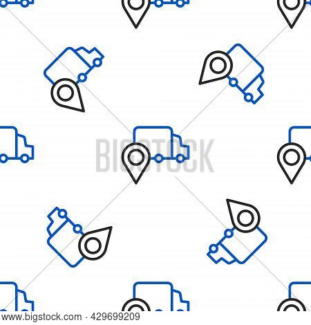 Line Delivery Tracking Icon Isolated Seamless Pattern On White Background. Parcel Tracking. Colorful