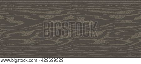 Brown Wooden Surface With Fibre And Grain. Natural Lines Wood, Hand Draw Hatching Texture, Seamless