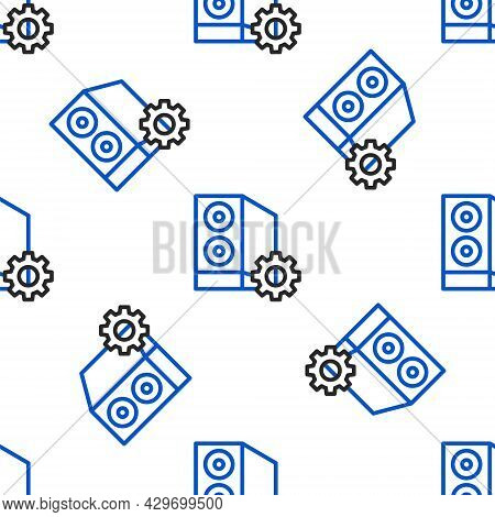 Line Case Of Computer Setting Icon Isolated Seamless Pattern On White Background. Computer Server. W